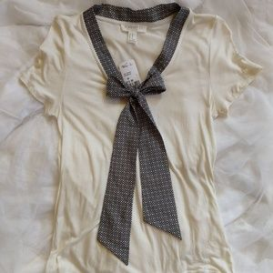 Forever 21 Cream and Black Geometric Bow Tie Top M
